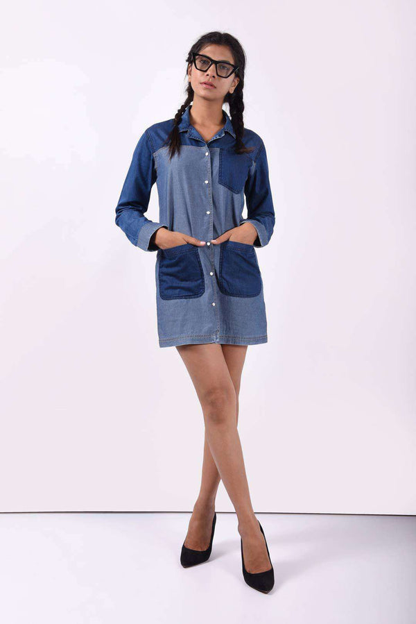 Patched dark blue denim dress