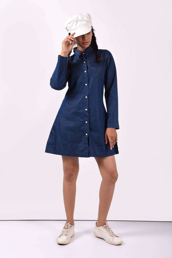 A line dark blue Dress - FREAKINS