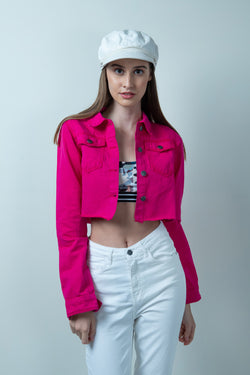 HOT PINK DENIM RAW HEM CROPPED JACKET - FREAKINS