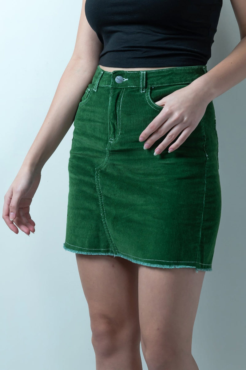 GREEN CORDUROY HIGH WAIST SKIRT - FREAKINS
