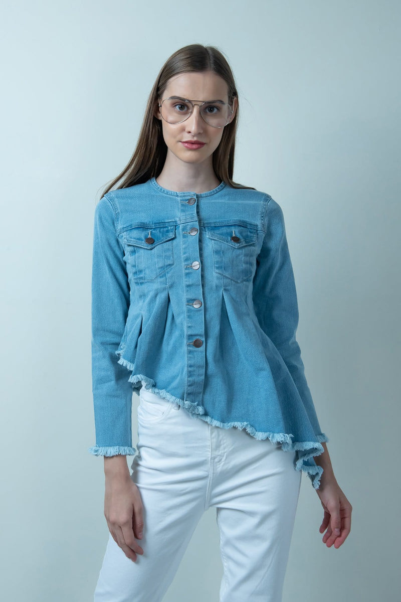 ASYMMETRICAL DENIM LIGHT WASH FLARED JACKET - FREAKINS