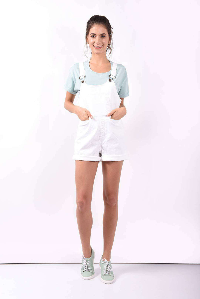White Denim short dungaree