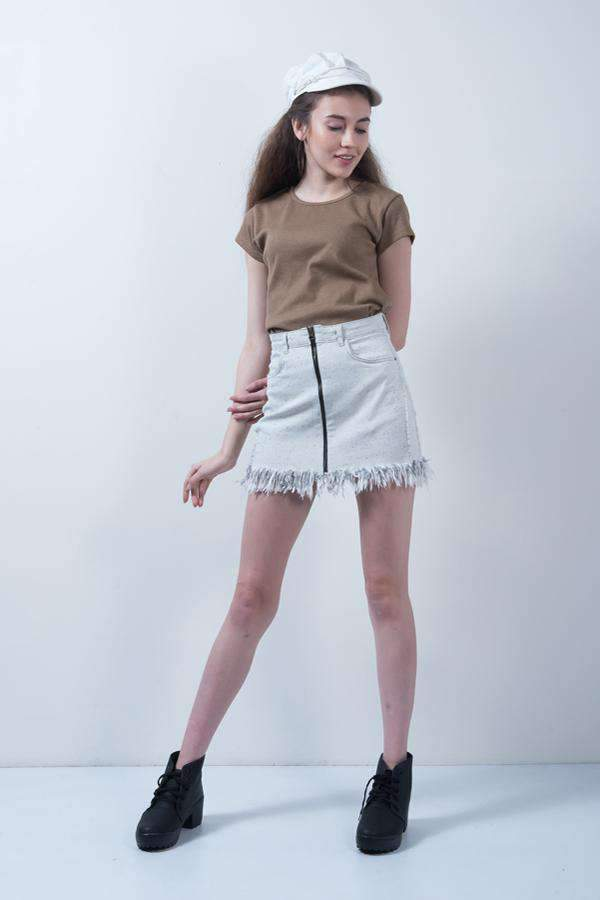 WHITE NEP-DENIM FRAY HEM SKIRT