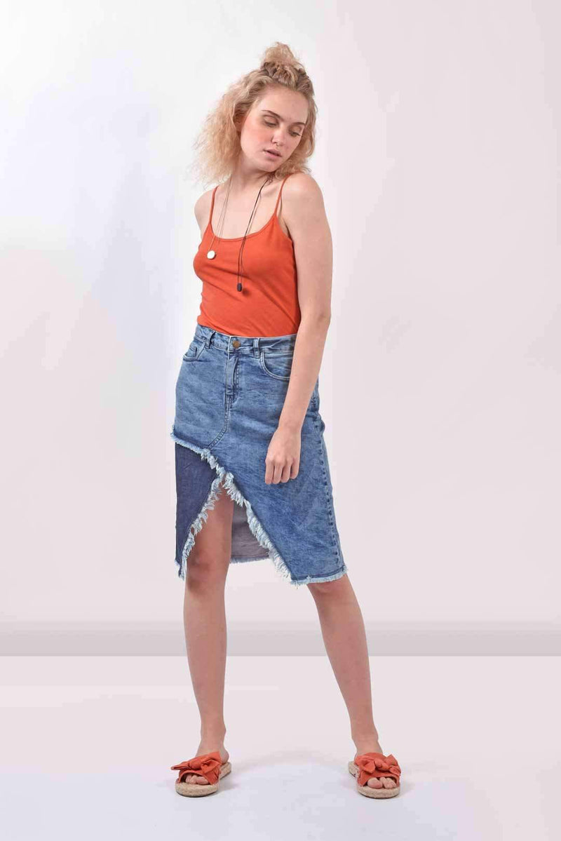 Patched denim skirt