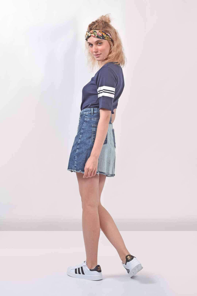 Paneled Denim skirt