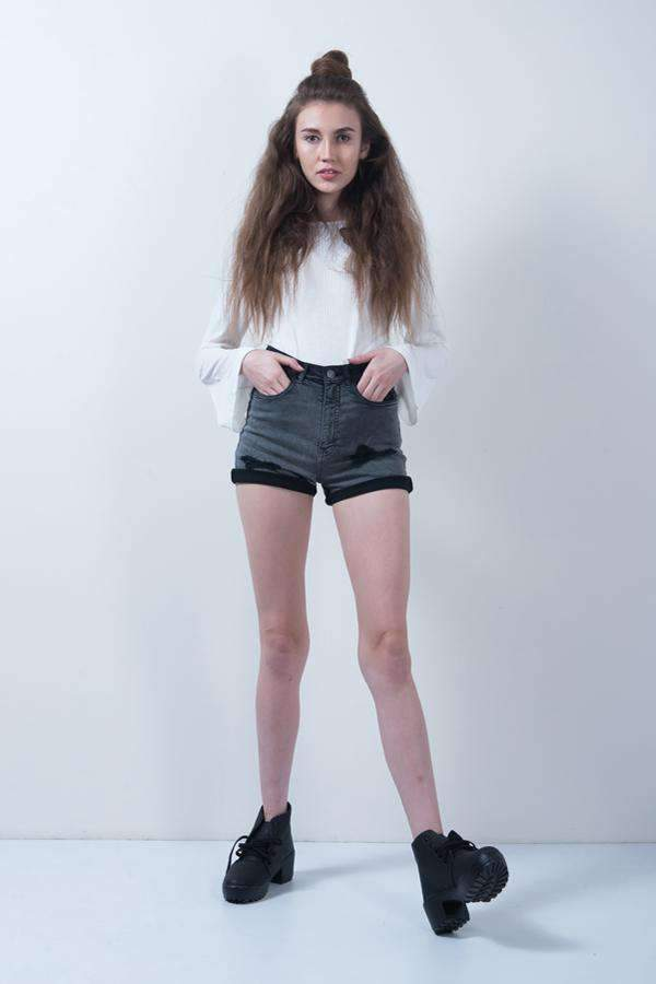 GREY DENIM OVERDYED HIGH WAIST SHORTS - FREAKINS