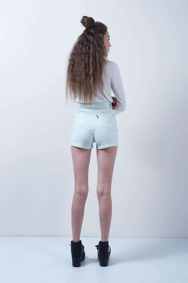 LIGHT GREEN DENIM HIGH WAIST DENIM HOT SHORTS - FREAKINS