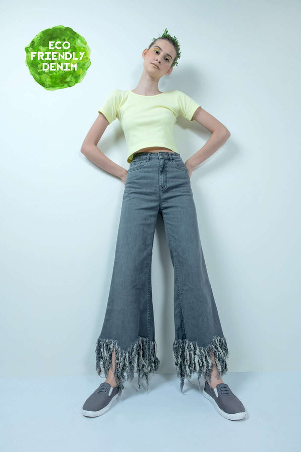 eco-friendly grey denim high waist fringe-flared jeans