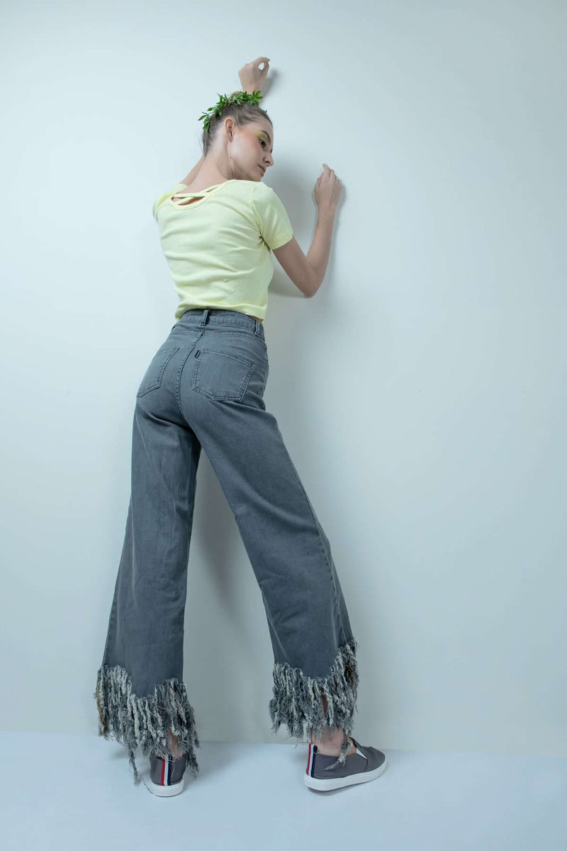 eco-friendly grey denim high waist fringe-flared jeans - FREAKINS
