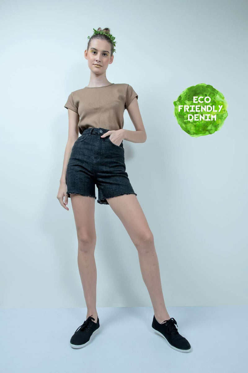 ECO-FRIENDLY BLACK DENIM HIGH WAIST SHORTS - FREAKINS