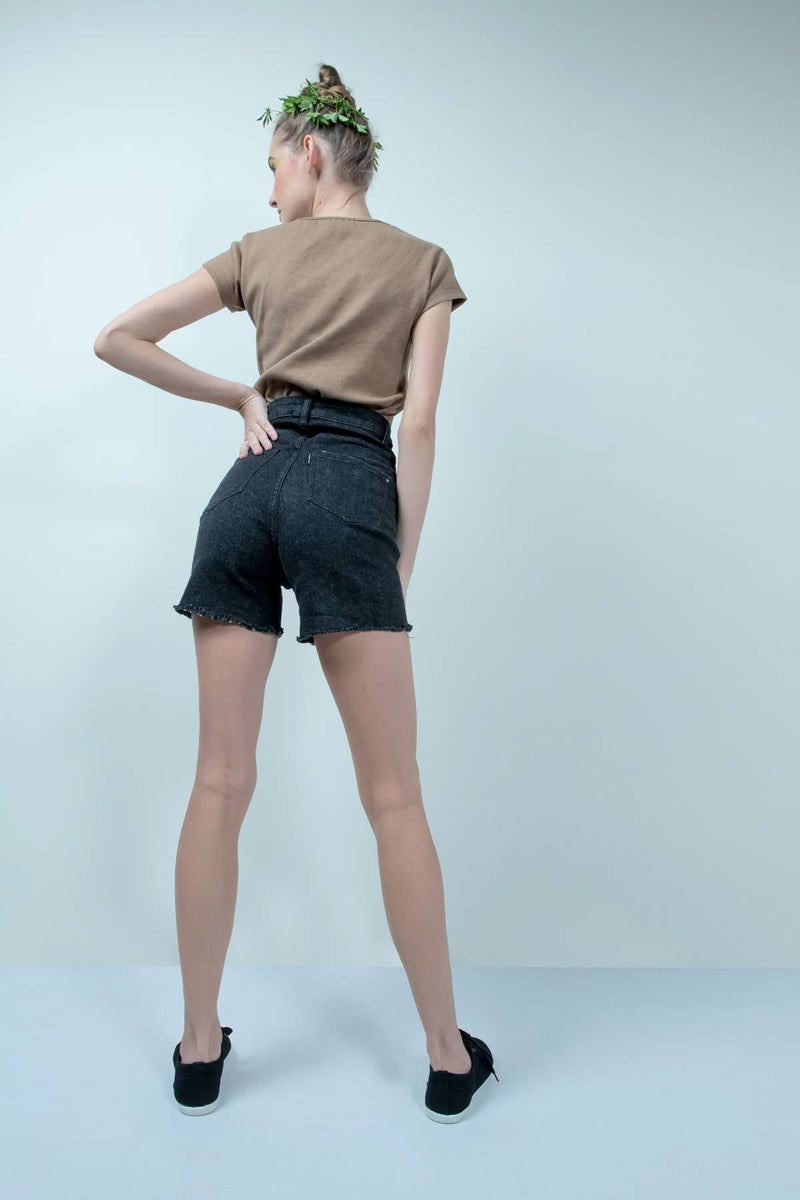 ECO-FRIENDLY BLACK DENIM HIGH WAIST SHORTS