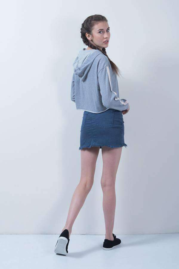 BLUE DENIM HIGH RISE SKIRT - FREAKINS