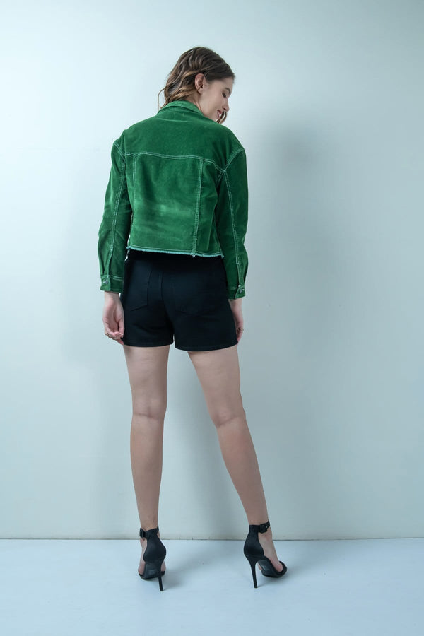 GREEN CORDUROY CROPPED JACKET - FREAKINS