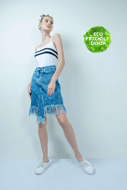 ECO-FRIENDLY FRINGE DENIM SMOKEY WASHED SKIRT - FREAKINS