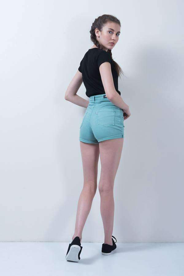 GREEN DISTRESSED DENIM HIGH WAIST DENIM SHORTS - FREAKINS