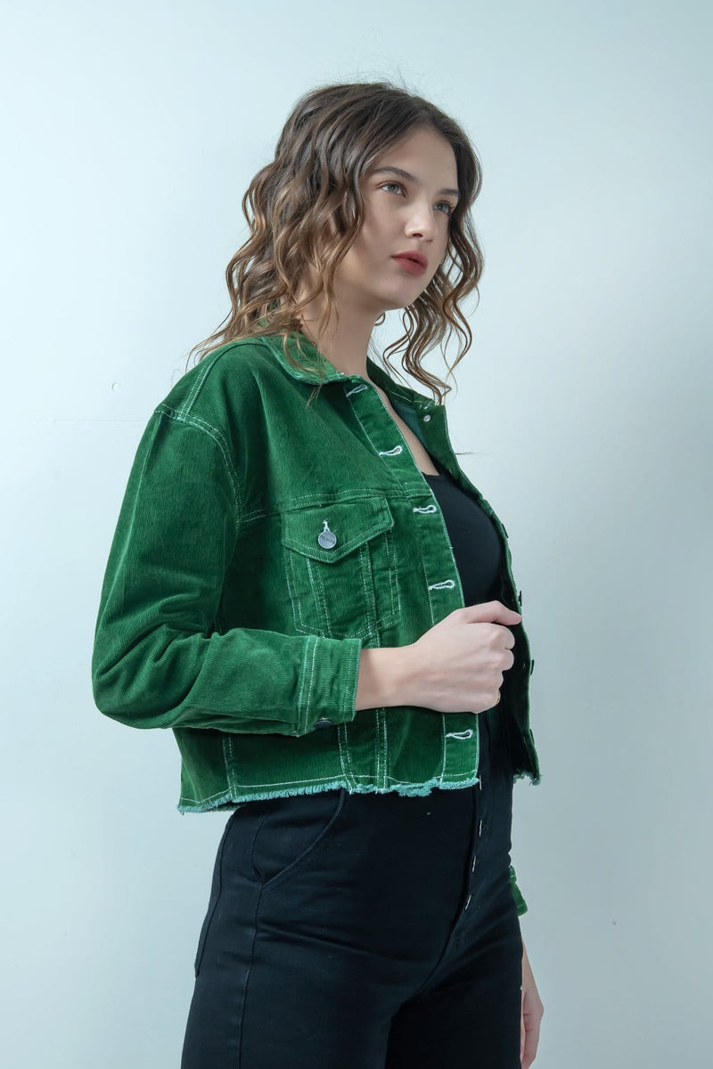 GREEN CORDUROY CROPPED JACKET