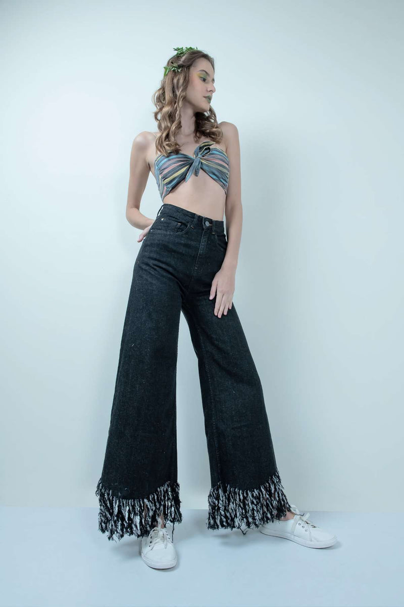 eco-friendlyXstm black denim high waist fringe-flared jeans