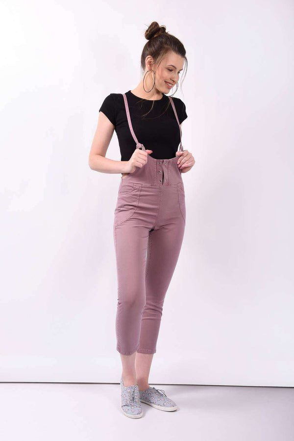 Wine slim fit denim dungaree