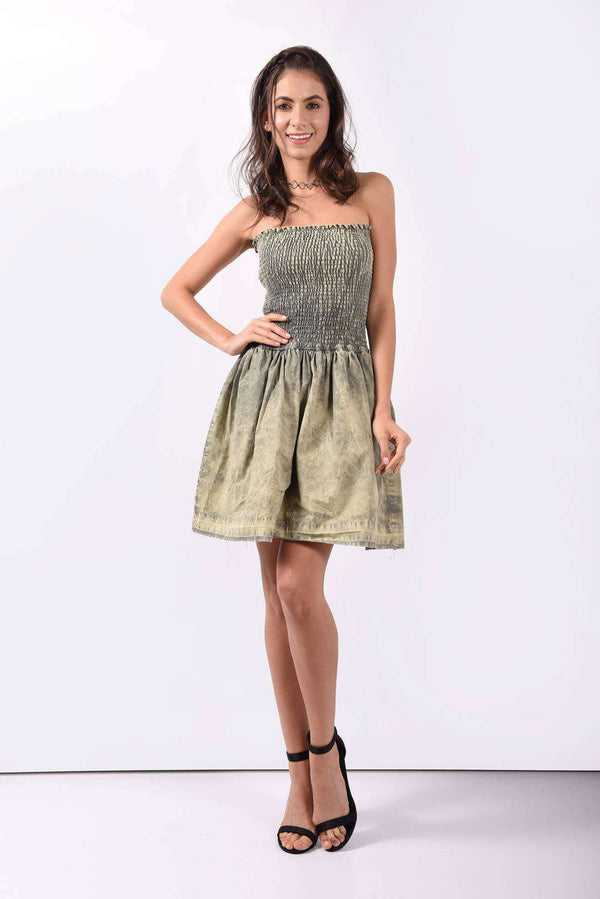 Smoky washed olive green fitted dress