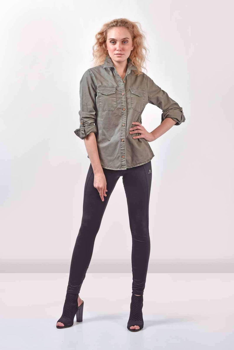 Olive Denim shirt
