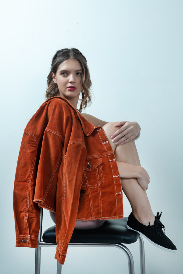 ORANGE CORDUROY CROPPED JACKET