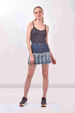 Paneled Denim Dark Blue skirt