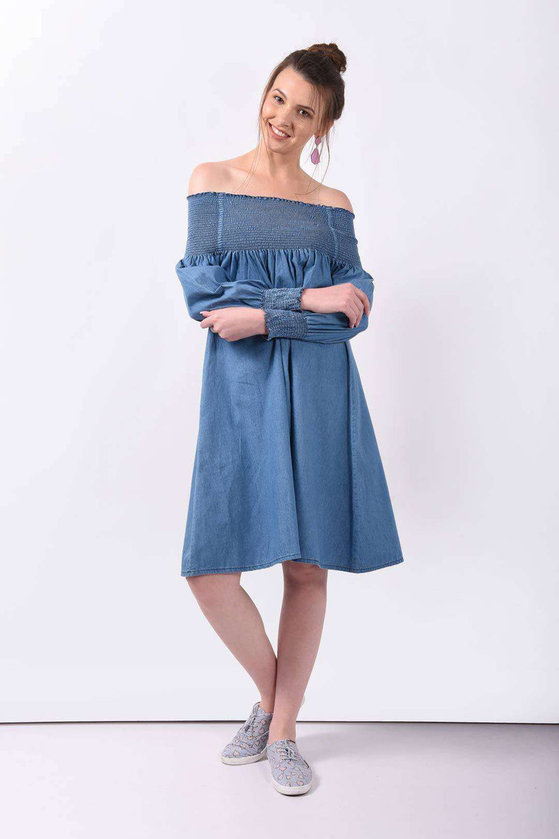 Off shoulder light washed denim dress
