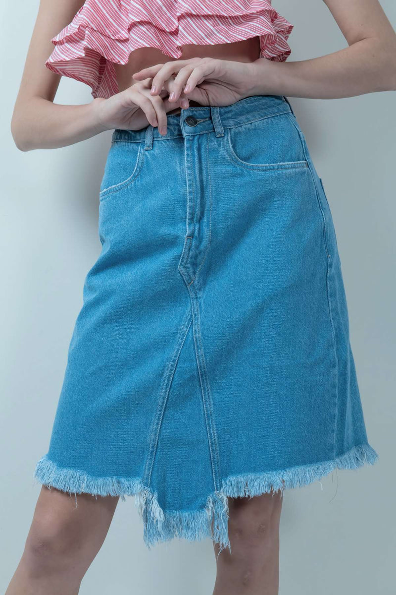ECO-FRIENDLY BLUE DENIM HIGH-LOW SKIRT - FREAKINS