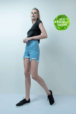ECO-FRIENDLY LIGHT BLUE HIGH LOW DENIM HIGH WAIST SHORTS - FREAKINS