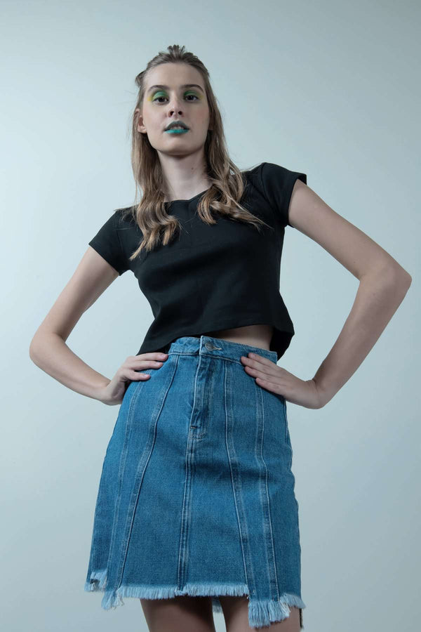 eco-friendly high low denim light blue skirt - FREAKINS