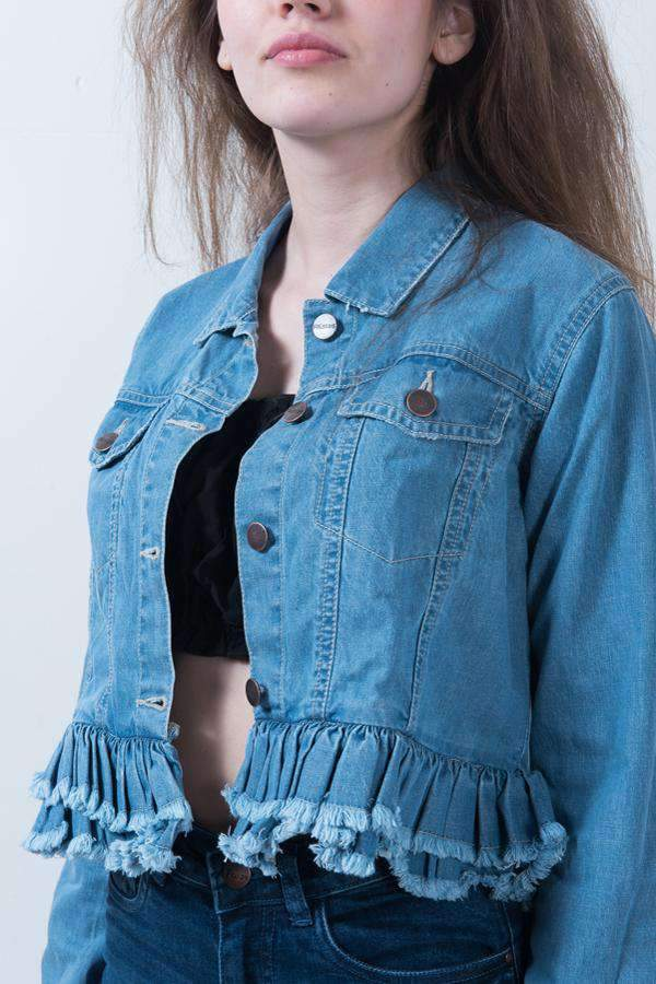 LIGHT BLUE FRILL DETAIL JACKET