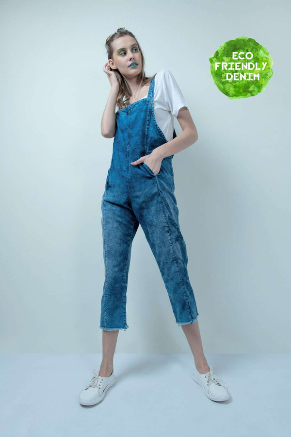 ECO-FRIENDLY SMOKEY WASHED DENIM DISTRESSED JUMPSUIT - FREAKINS