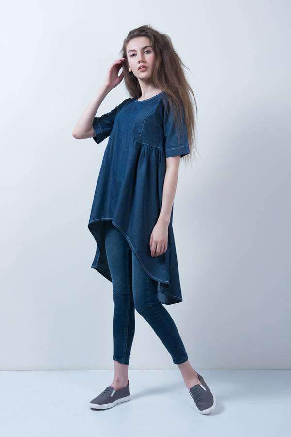 MID BLUE ASYMMETRICAL DRESS - FREAKINS