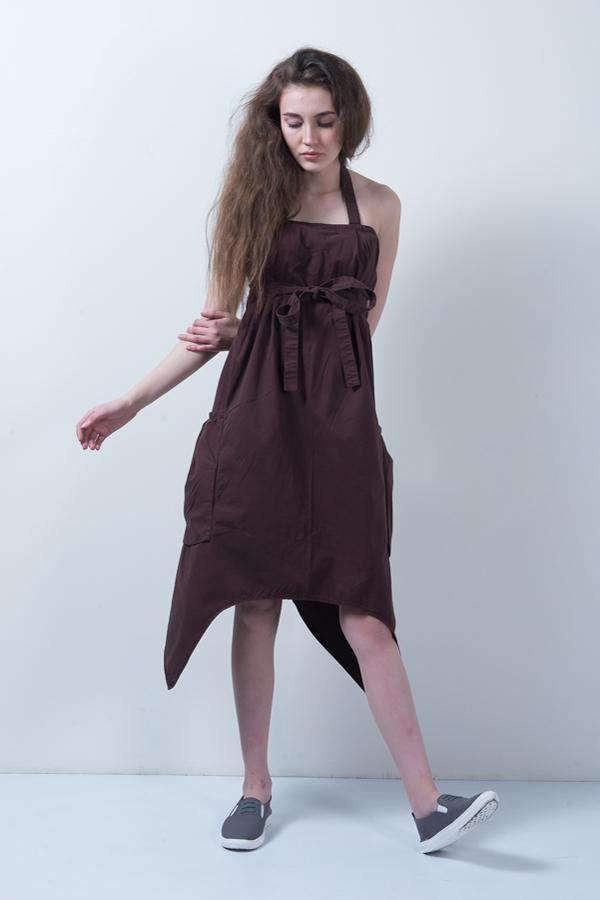 PURPLE-BROWN DENIM ASYMMETRICAL LONG DRESS