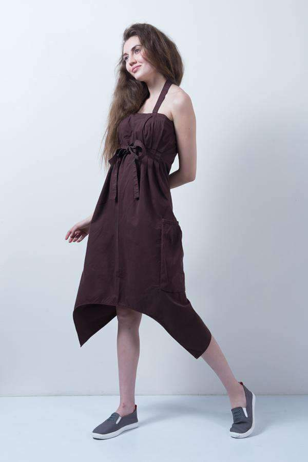 BROWN DENIM ASYMMETRICAL DRESS