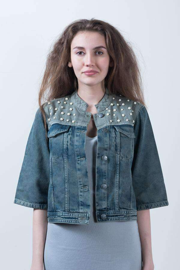HAND ATTACHED OLIVE DENIM DYED CROPPED JACKET - FREAKINS