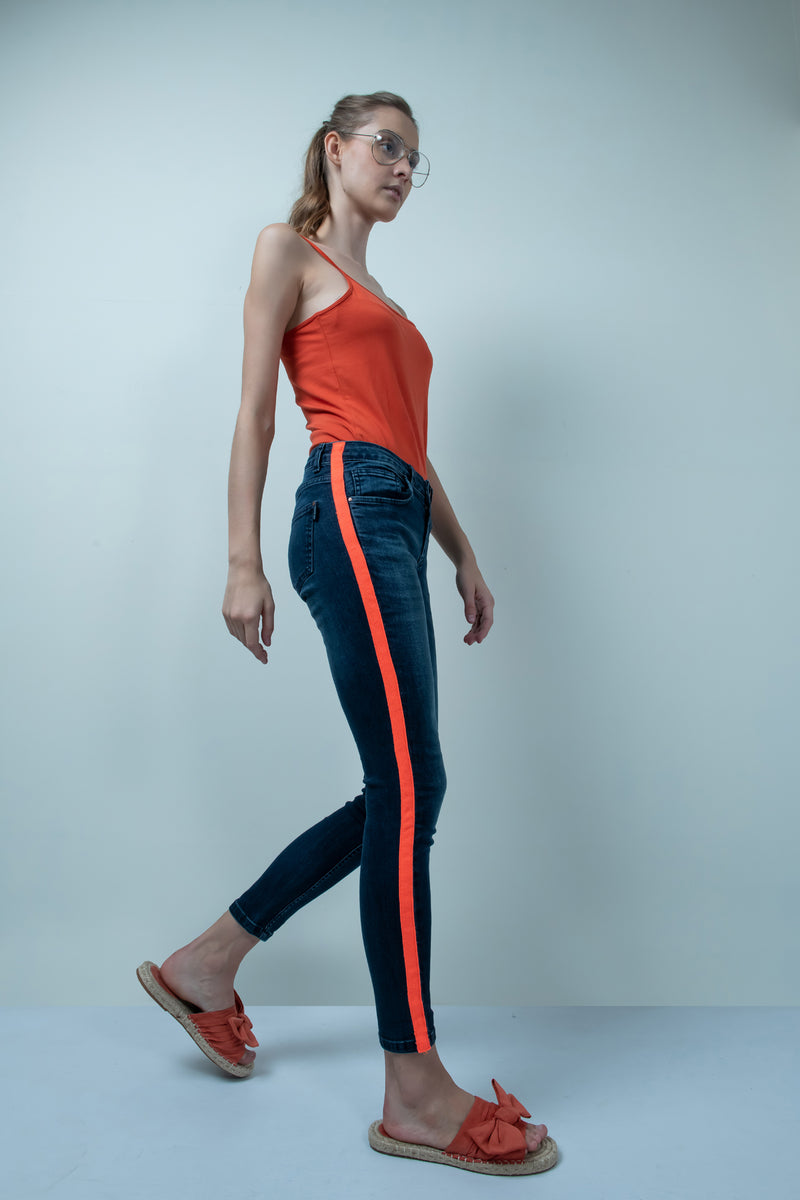 NEON ORANGE SIDE TAPE DETAILED DENIM HIGH WAIST SKINNY FIT JEANS