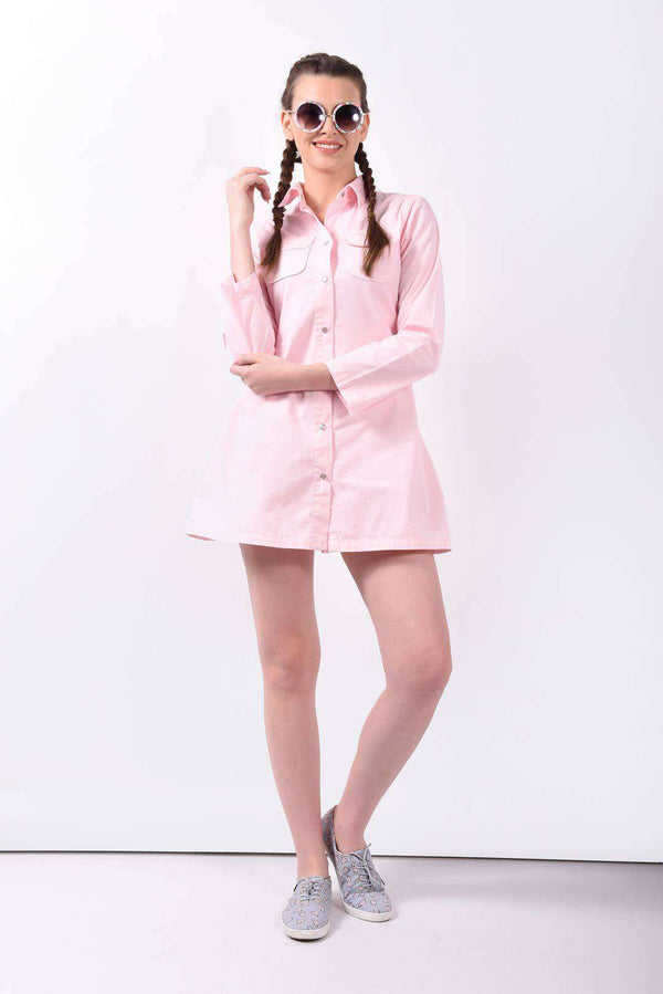 Pink denim flared dress