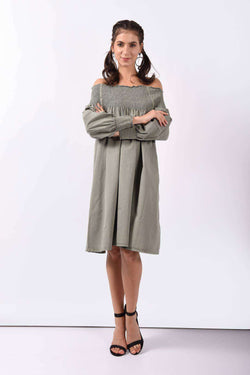 Olive green off shoulder smoky dress