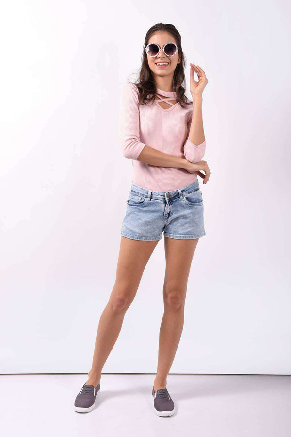 Light blue basic denim shorts - FREAKINS