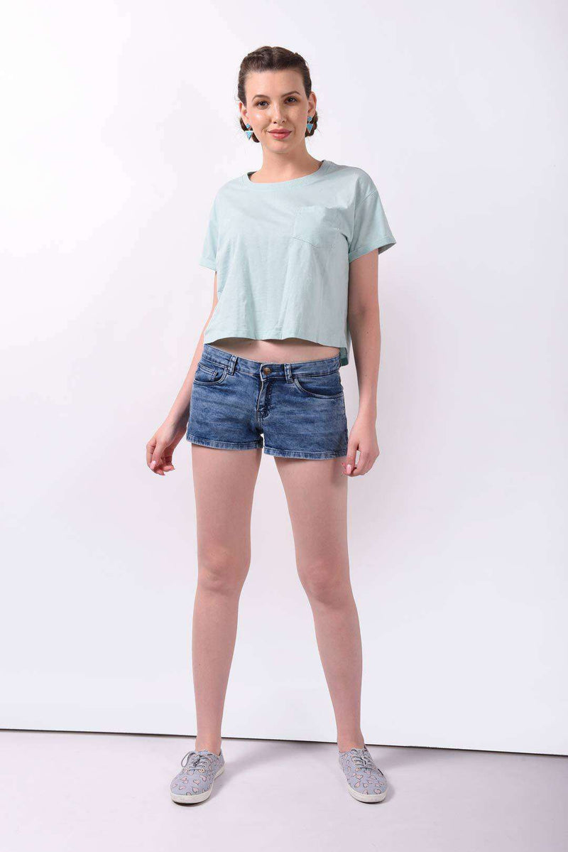 Smoky light blue denim shorts