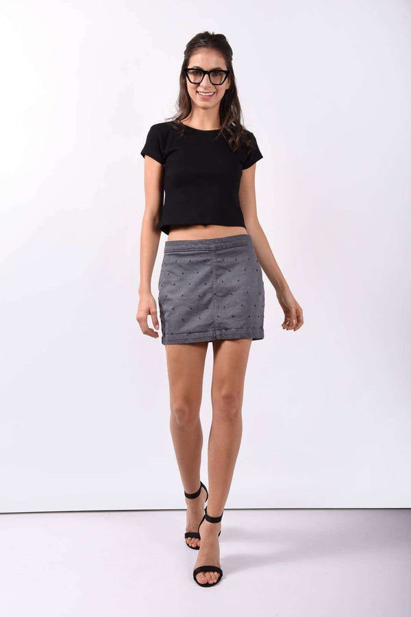 French knot grey denim skirt - FREAKINS