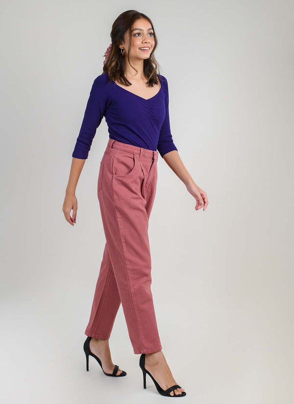 DUSTY PINK PLEATED SLOUCHY DENIM