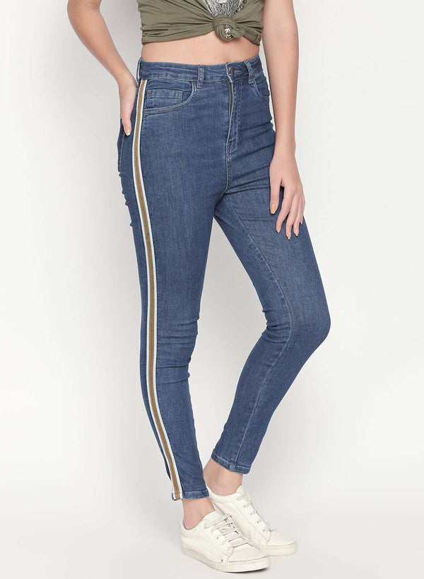 SUPER HIGH WAIST SIDE TAPE DETAILED DENIM SKINNY FIT MID BLUE JEANS