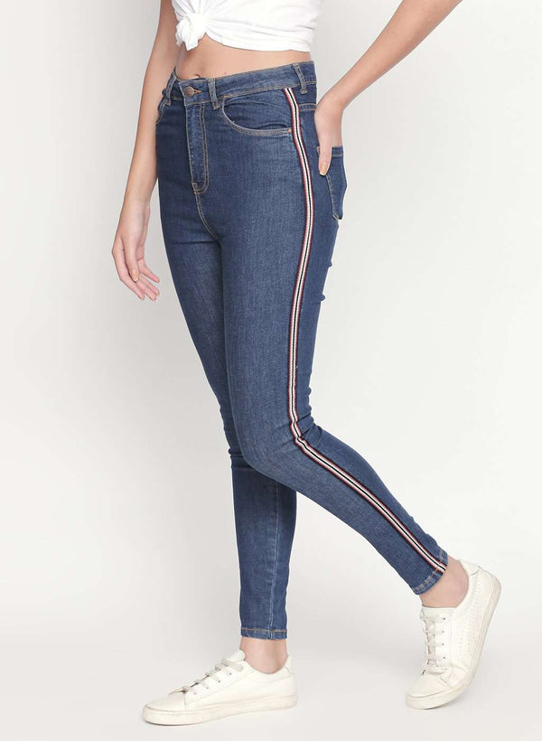 SUPER HIGH WAIST SIDE TAPE DETAILED DENIM SKINNY FIT JEANS