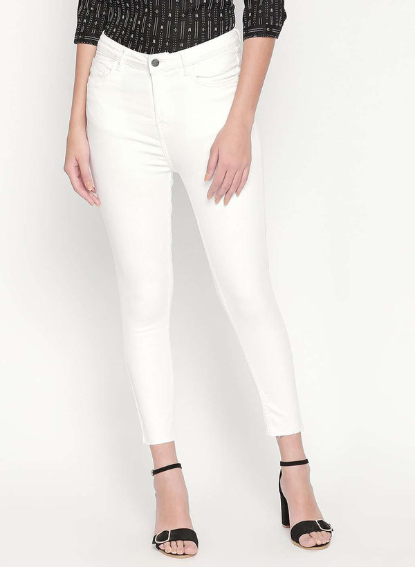 WHITE SUPER HIGH WAIST RAW HEM SKINNY FIT DENIM JEANS
