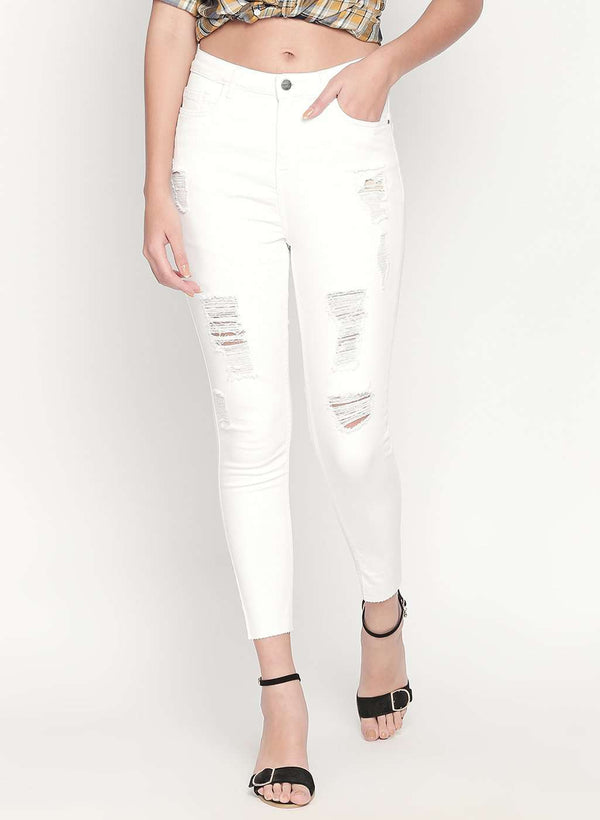 WHITE SUPER HIGH WAIST DISTRESSED RAW HEM SKINNY FIT DENIM JEANS