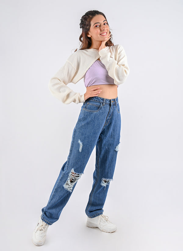 RIPPED LOOSE MOM JEANS