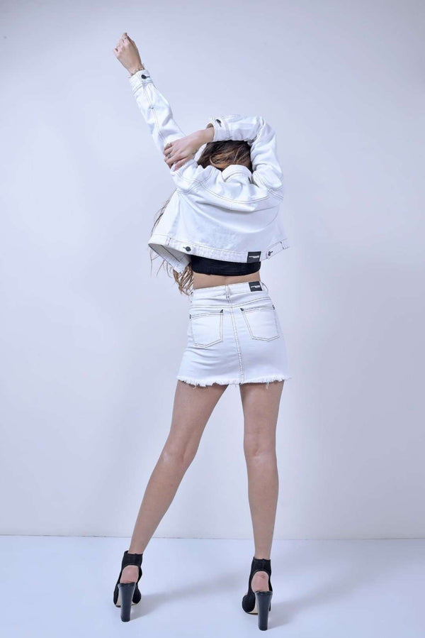 STM white contrast stitch denim cropped jacket