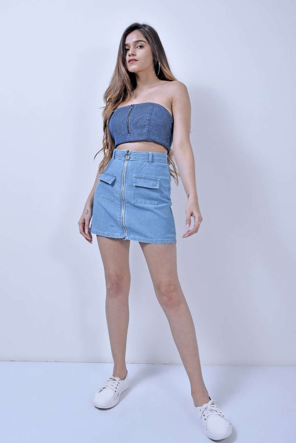 STM light blue striped denim skirt